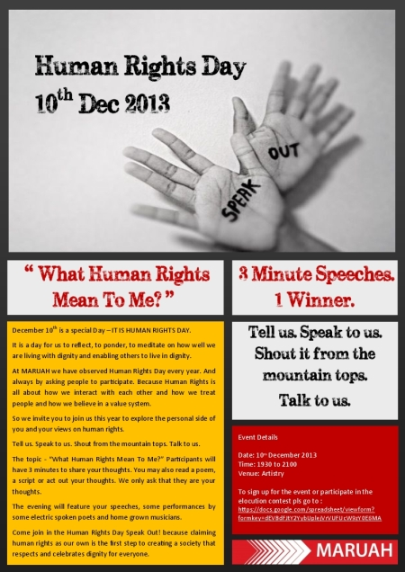 The Human Rights Day Speak Out! 2013