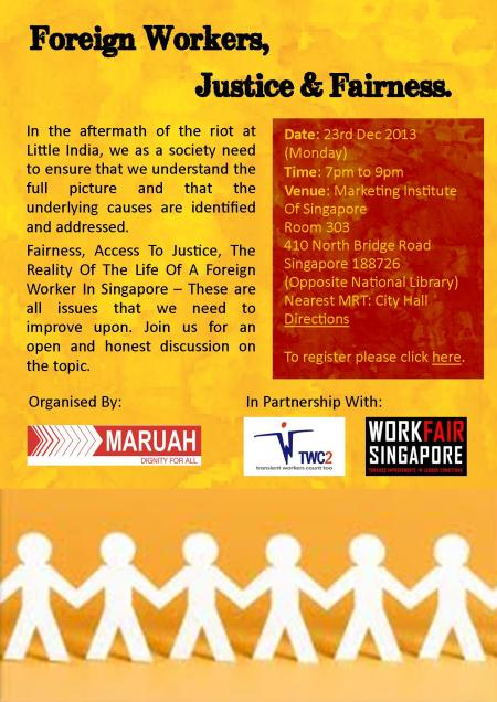 Foreign Workers, Justice & Fairness - Venue Updated