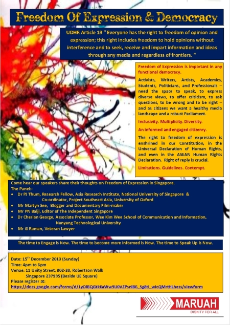 Freedom Of Expression & Democracy - 15th December 2013